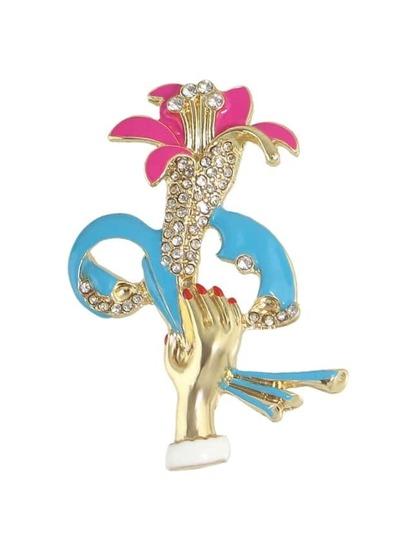 Fashion Colorful Enamel Flower Hand Shape Brooch