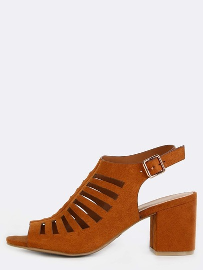 Cut Out Chunky Heel Booties CHESTNUT