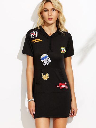 Black Drawstring Hooded Patches Sheath Dress