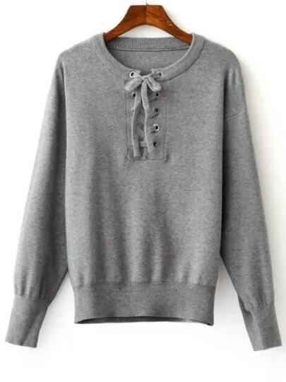 Grey Ribbed Trim Eyelet Lace Up Knitwear
