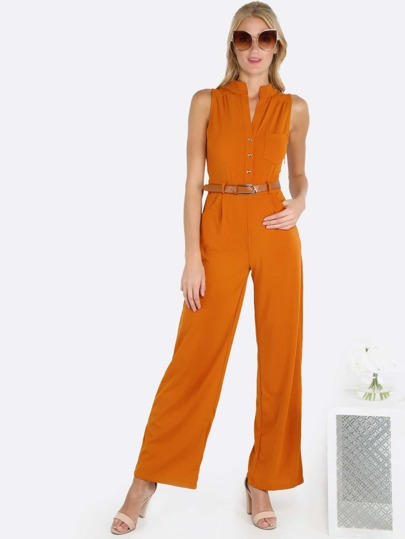 Sleeveless Belted Jumpsuit RUST