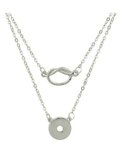 Silver Double Layers Pendant Necklace