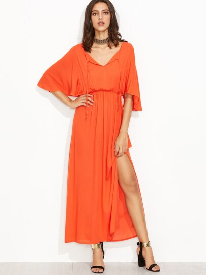 Orange Tie Neck High Waist Cape Dress