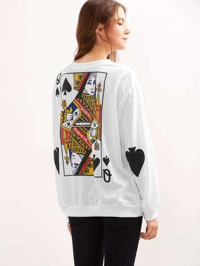 Queen Of Spades Print Loose Sweatshirt