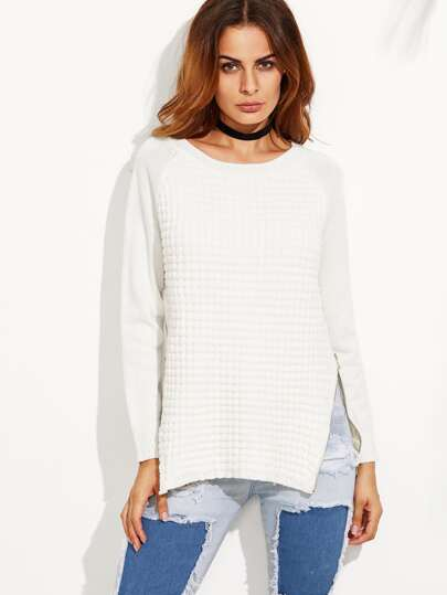 White Zipper Split Side Long Sleeve Sweater