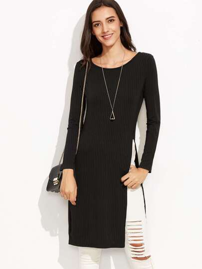 Black High-Slit Ribbed Long Sweater