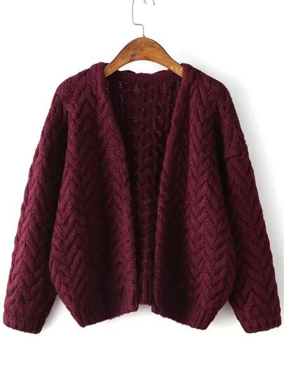 Burgundy Open Front Cable Knit Loose Sweater Coat