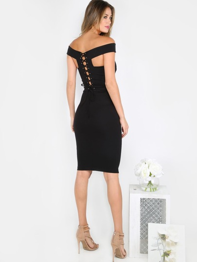 Off the Shoulder Lace Up Dress BLACK