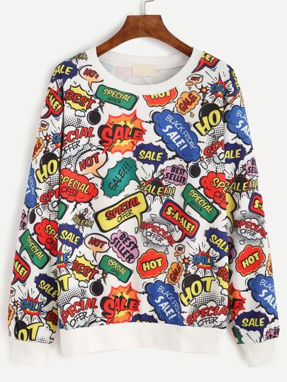Multicolor Graffiti Print Sweatshirt