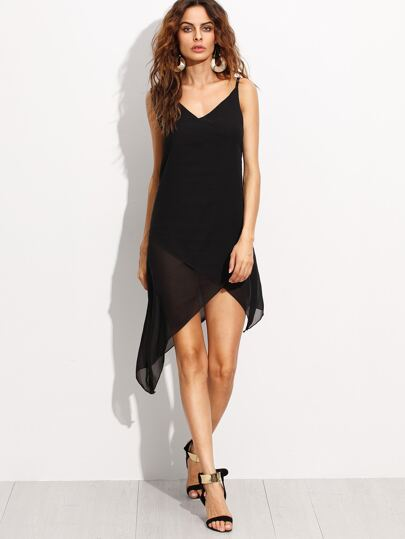 Black Spaghetti Strap Asymmetrical Chiffon Dress