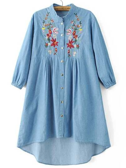 Blue Flower Embroidery High Low Denim Dress With Buttons