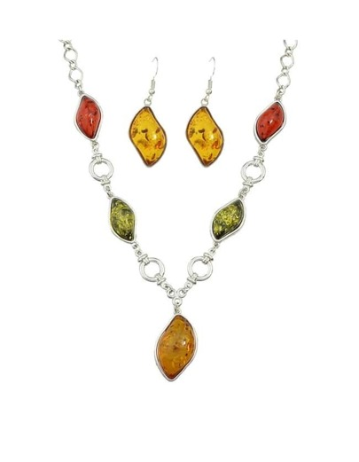 Yellow Resin Stone Pendant Jewelry Set