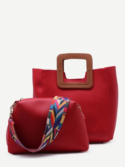 Red Square Handle Tote Bag With Geometric Print Strap Bag