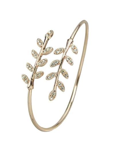 Rosegold Rhinestone Leaf Shape Adjustable Bracelet