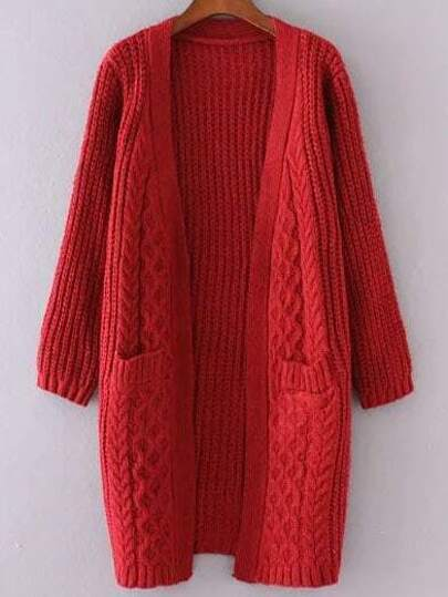 Red Collarless Cable Knit Pocket Sweater Coat