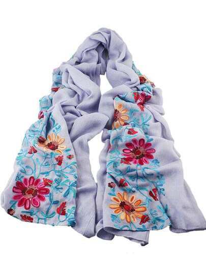 Lightgray Flower Printed Boho Style Wide Cotton Scarf For Ladies
