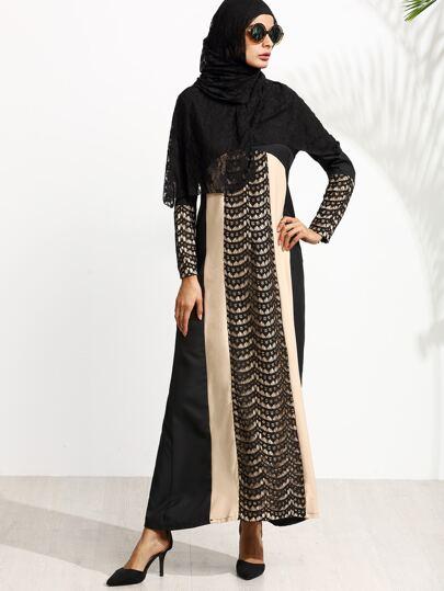 Muslim Stitching Long Sleeve Long Sleeve Islamic Kaftan Abaya Maxi Dress