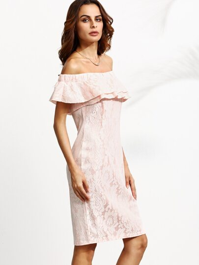 Pink Off The Shoulder Ruffle Layered Split Back Lace Dress