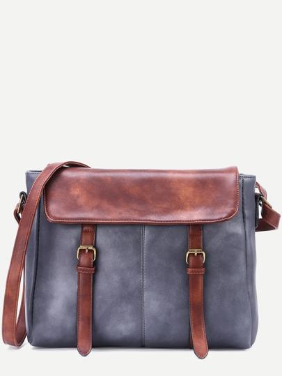 Grey Faux Leather Satchel Bag