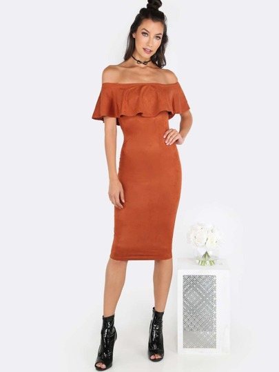 Open Shoulder Suede Midi Dress RUST