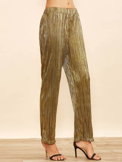 Gold Striped Elastic Waist Pants