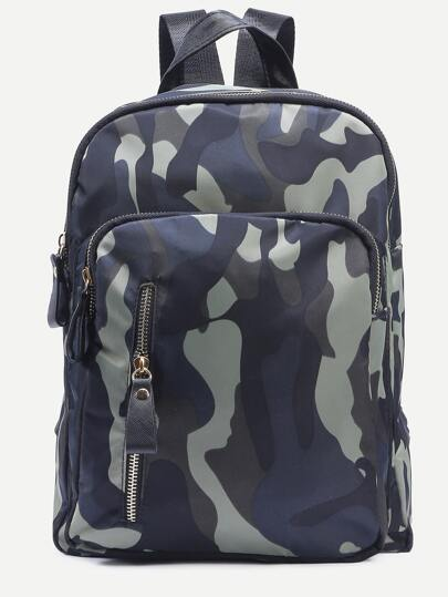 Olive Green Camo Print Square Nylon Backpack
