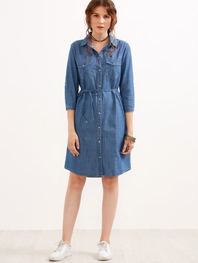 Blue Flower Embroidery Self Tie Denim Dress With Pockets