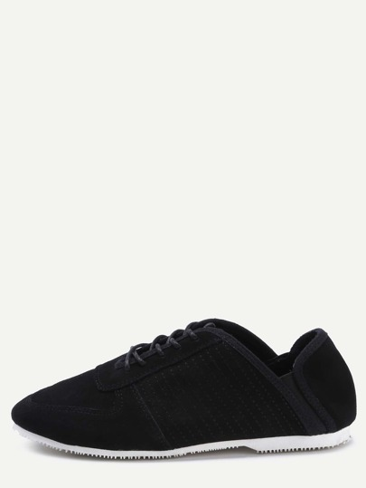 Zapatillas cuero sintético con cordón pespunte - negro
