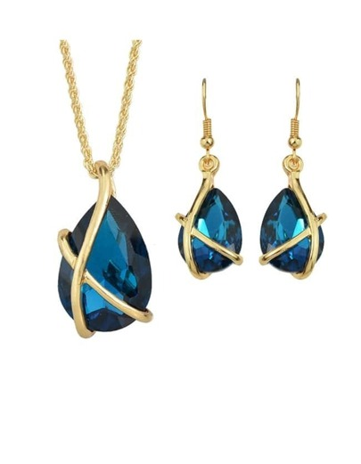 Blue Crystal Pendant Jewelry Set