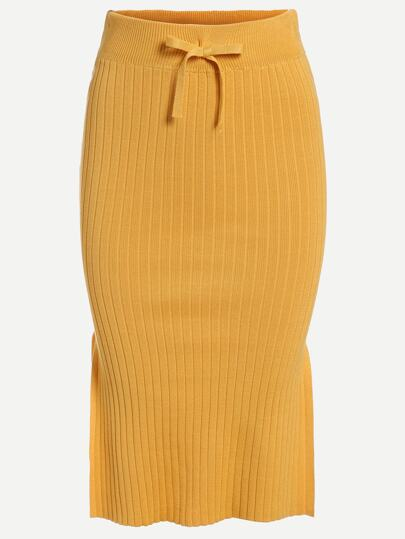Yellow Drawstring Waist Slit Ribbed Knit Pencil Skirt