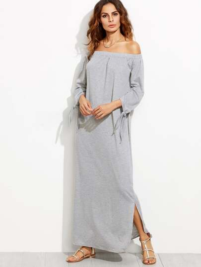 Heather Grey Off The Shoulder Tie Sleeve Slit Maxi Dress