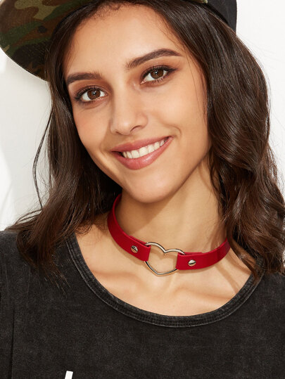 Red Wide Plain Pu Choker