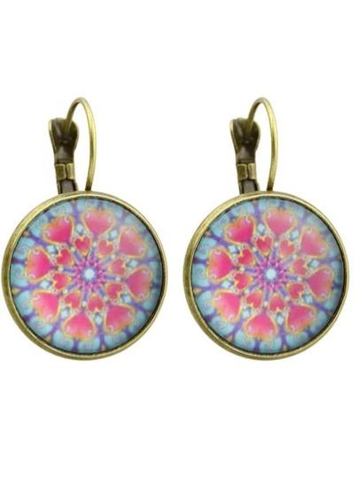 Bronze Vintage Design Heart Patterns Round Hoop Earrings