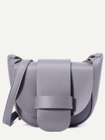 Grey Faux Leather Crossbody Bag