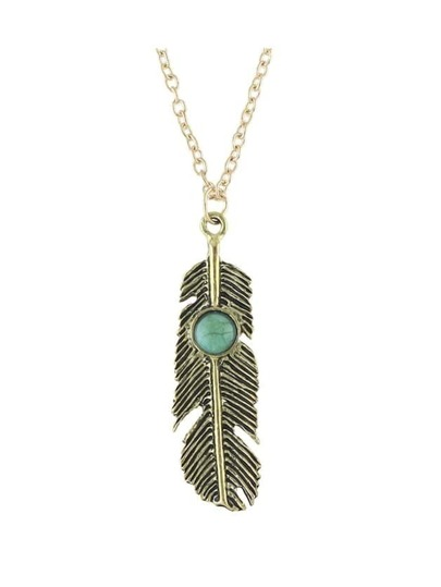 Antique Gold Feather Shape Pendant Necklace For Women