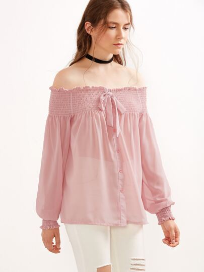 Pink Off The Shoulder Lantern Sleeve Bow Shirred Top