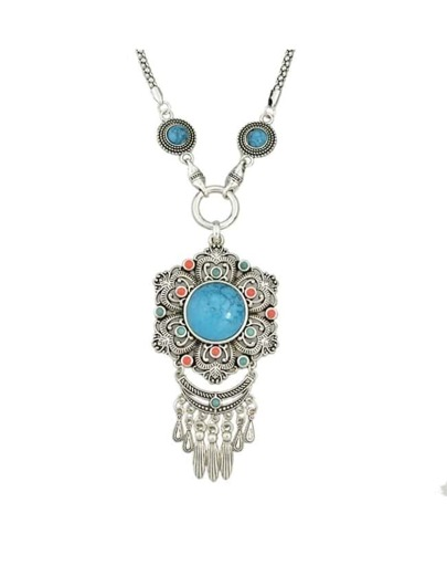Silver Plated Turquoise Pendant Necklace