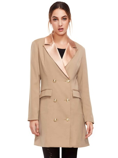 Khaki Long Sleeve Lapel Dress