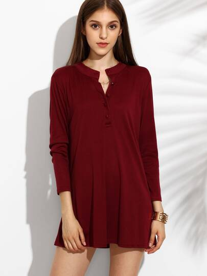 Burgundy Stand Collar Button Front Shift Dress