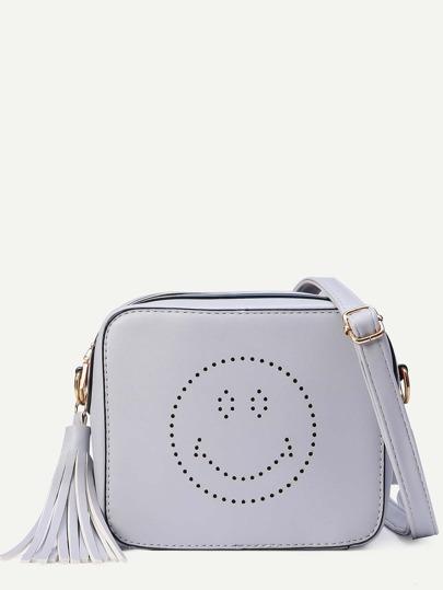 Grey Tassel Trim Laser Cutout Smiley Square Crossbody Bag