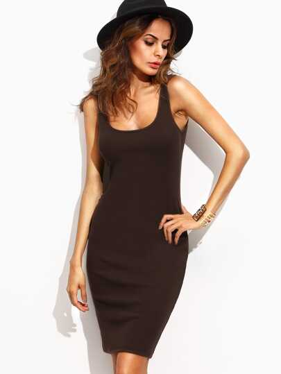 Dark Brown Scoop Neck Sleeveless Tank Dress