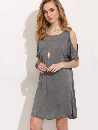 Grey Cold Shoulder Split Shift Dress