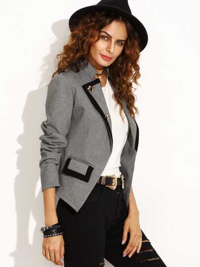 Grey Lapel Button Pocket Long Sleeve Blazer