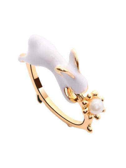 Gold Enamel Rabbit Ring
