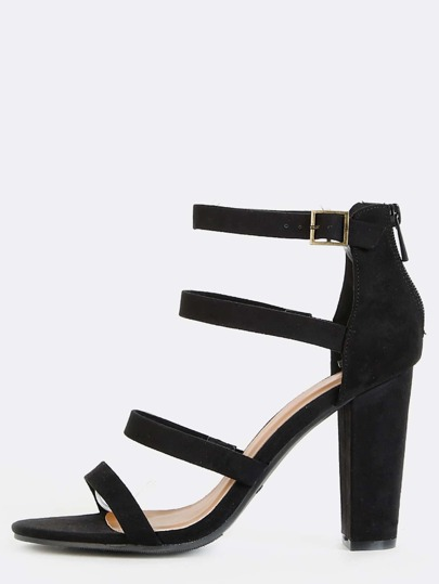 Four Strap Open Toe Chunky Heels BLACK