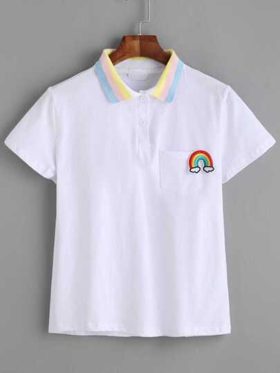 White Contrast Striped Collar Rainbow Embroidery Pocket T-shirt