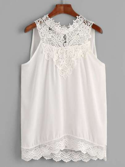 White Crochet Trim Sleeveless Blouse