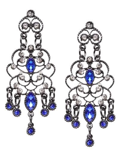 Boho Blue Rhinestone Hollow Out Drop Earrings