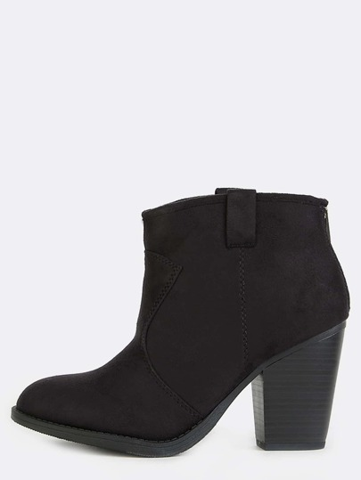 Round Toe Suede Ankle Boots BLACK