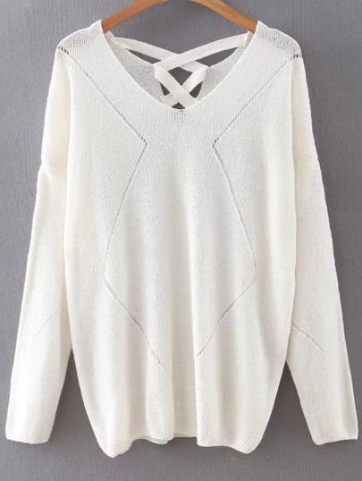 White V Neck Criss Cross Back Knitwear